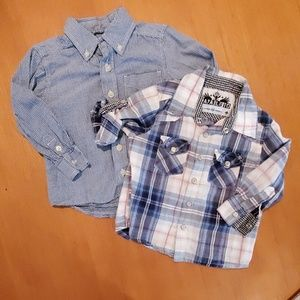 2 boys button up shirts size 24 mos